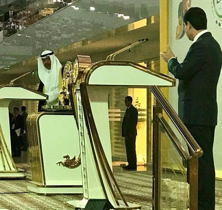OCA President Sheikh Ahmad Al-Fahad Al-Sabah speaks at the Opening Ceremony as Turkmenistan President Gurbanguly Berdimuhamedow watches on ©OCA