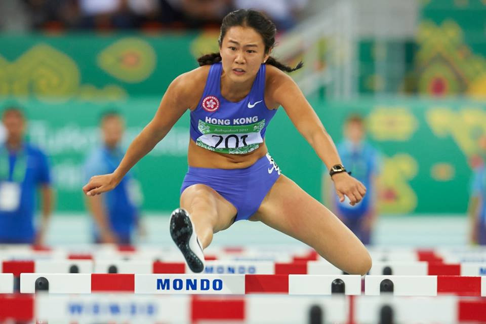 Lui Lai Yiu of Hong Kong competes in the 60m hurdles ©Ashgabat 2017