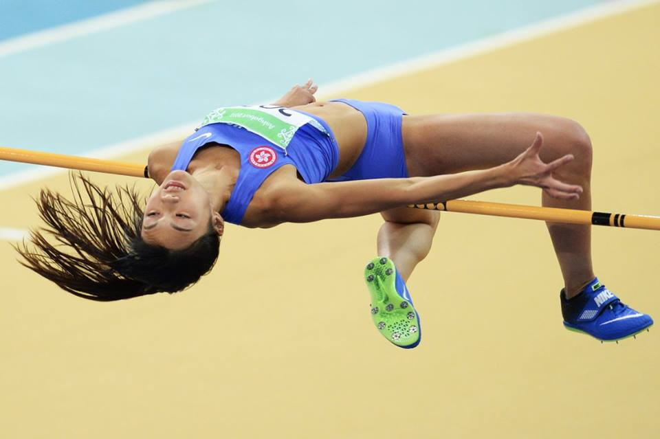 Yeung Man Wai of Hong Kong participates in the women's high jump ©Ashgabat 2017