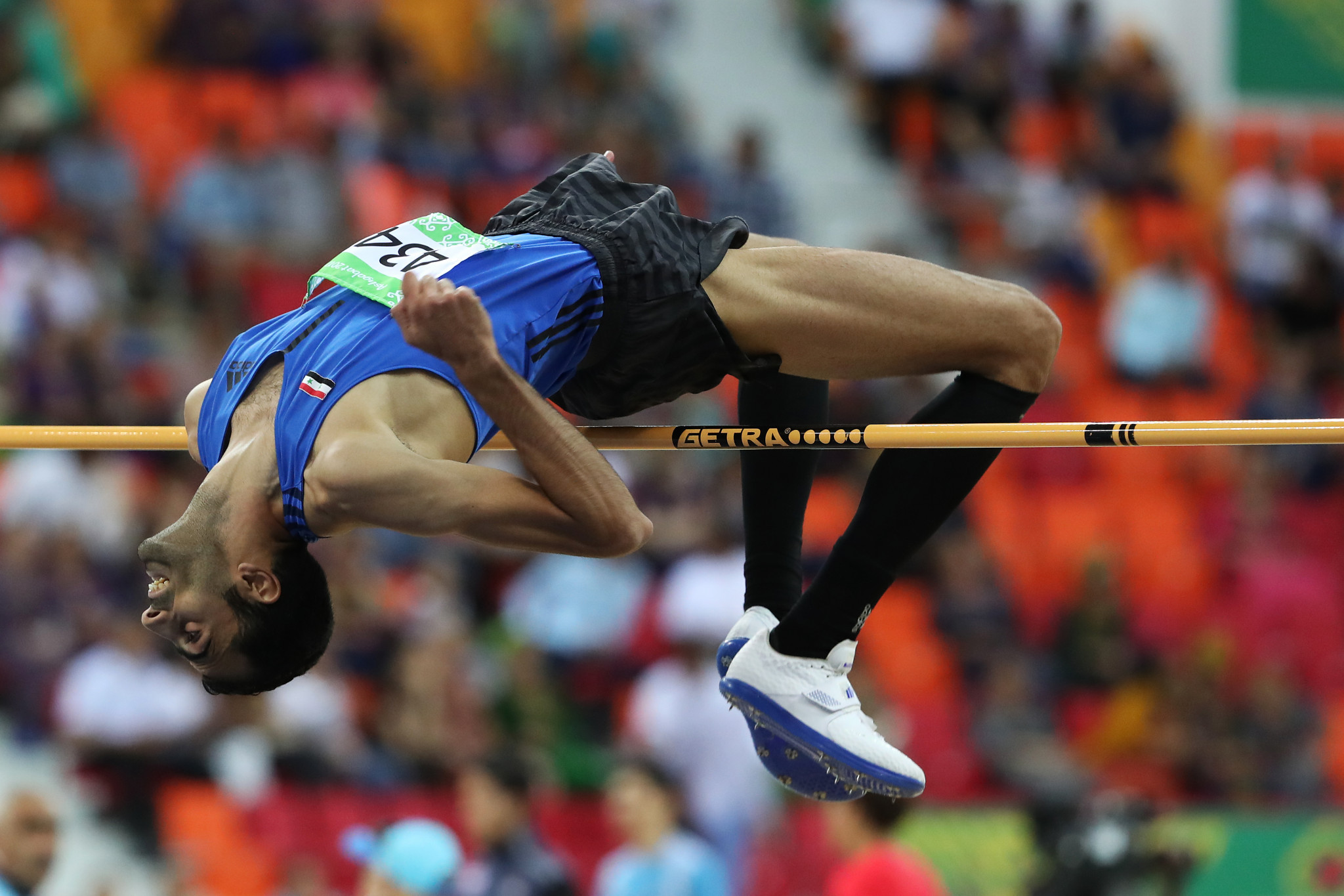 Syria's Majd Eddin Ghazal achieved a Games record in the men's high jump final on the last day of Ashgabat 2017 indoor athletics action ©Ashgabat 2017/Nikita Bassov/Laurel Photo Services