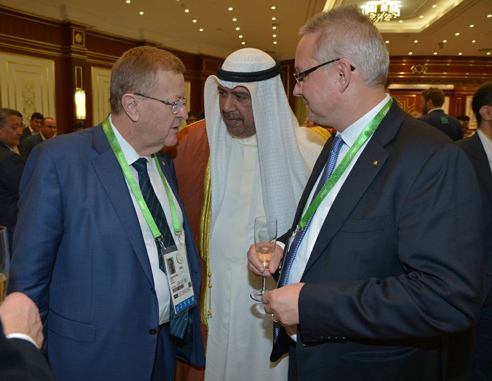 Australian Olympic Committee chief John Coates, left, chats with Sheikh Ahmad Al-Fahad Al-Sabah ©OCA