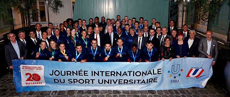 French university students being honoured for their success in Taipei ©French Federation of University Sport