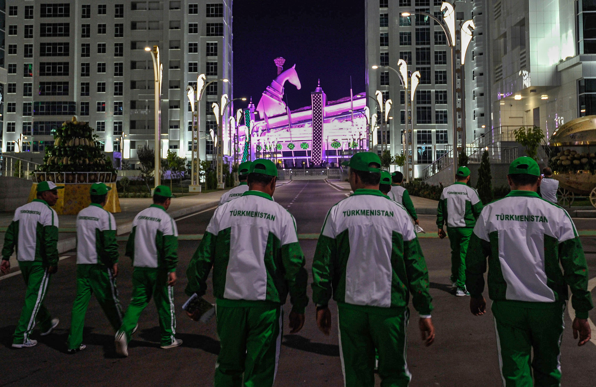 Workers within the Olympic Complex in Ashgabat head towards the Olympic Stadium ©Getty Images