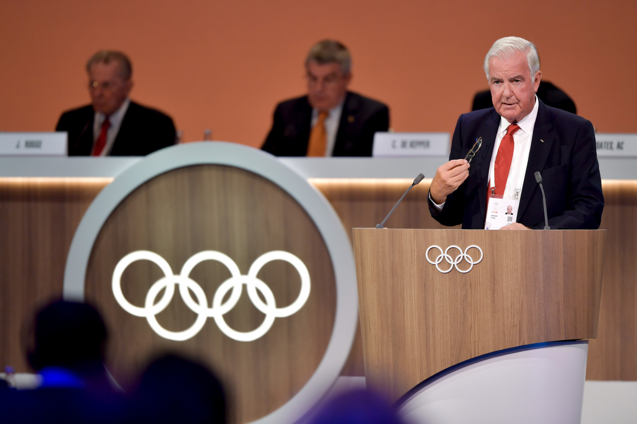 WADA President Sir Craig Reedie criticised a group of NADOs during the IOC Session in Lima last week for calling for a blanket ban on Russian athletes at Pyeongchang 2018 ©Getty Images