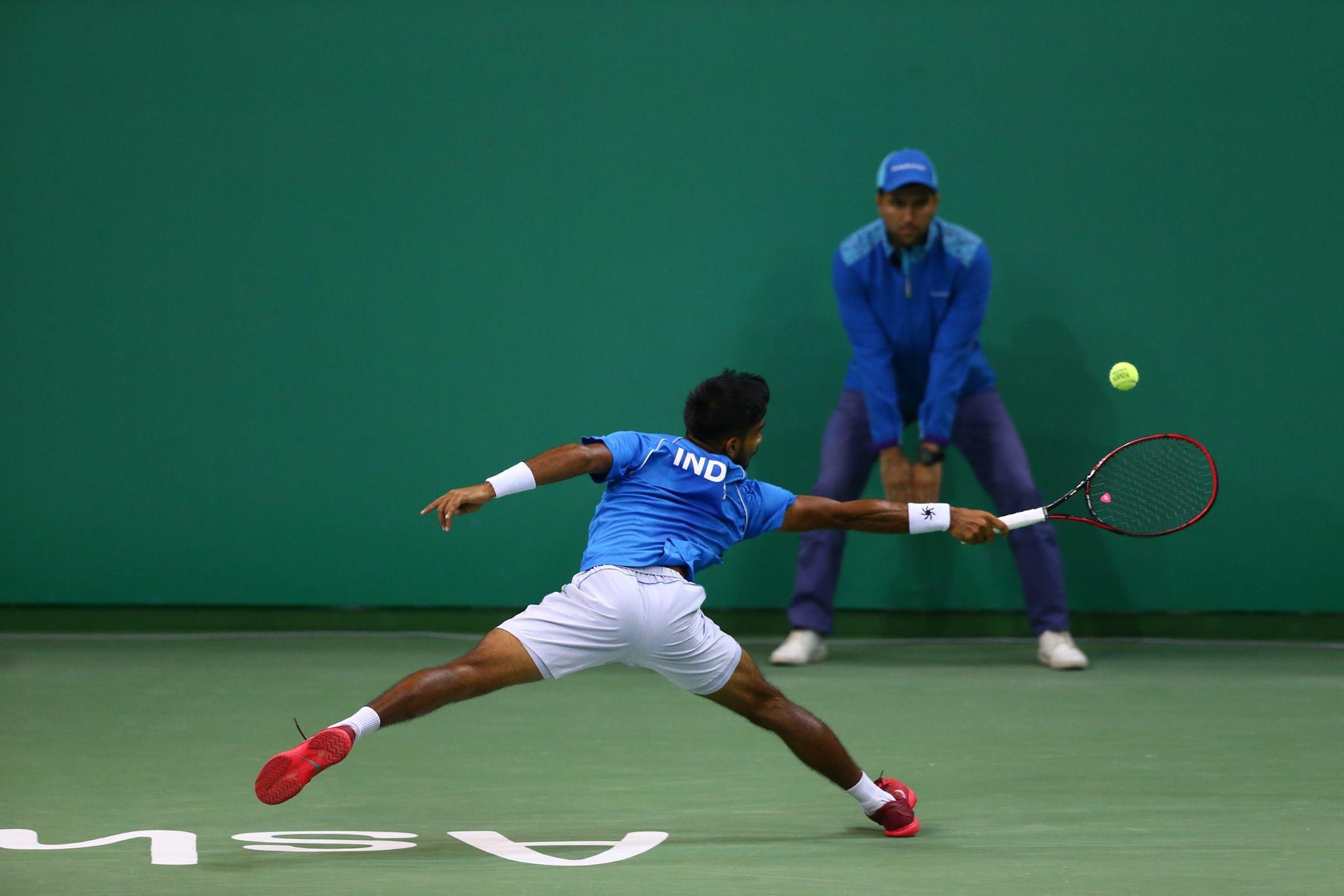 India's Sumit Nagal won his men's singles quarter-final in indoor tennis ©Ashgabat 2017/Facebook