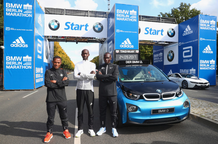 The three favoruties for the Berlin Marathon - from left Kenenisa Bekele, Eliud Kipchoge and Wilson Kipsang ©Getty Images