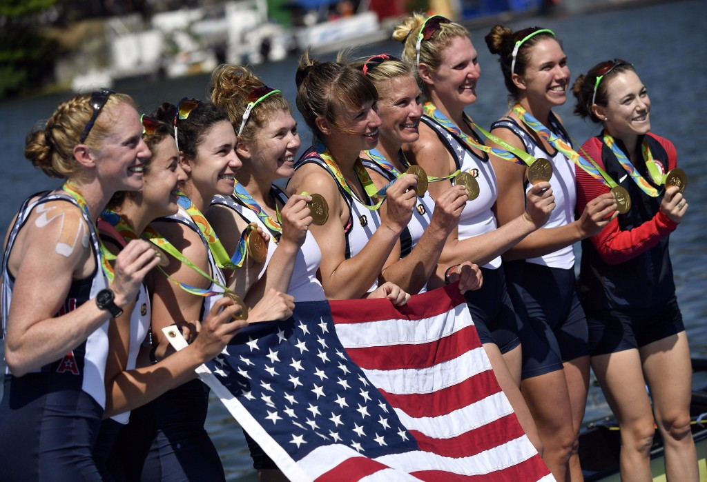 The US women's eight show off their Rio 2016 gold medals - but can they sustain their unprcedented winning run on home water at the forthcoming World Championships? ©Getty Images