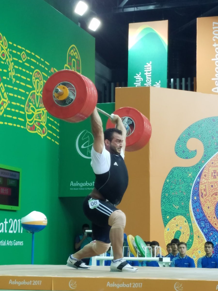 Olympic champion Sohrab Moradi broke the overall men's 94 kilograms weightlifting world record at Ashgabat 2017 today ©Reiko Kato Chinen/Twitter