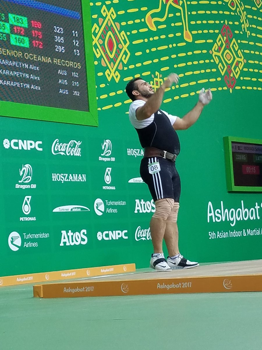 Olympic champion Sohrab Moradi of Iran broke the overall men's 94 kilograms weightlifting world record on day eight of the 2017 Asian Indoor and Martial Arts Games in Turkmenistan's capital Ashgabat ©Reiko Kato Chinen/Twitter