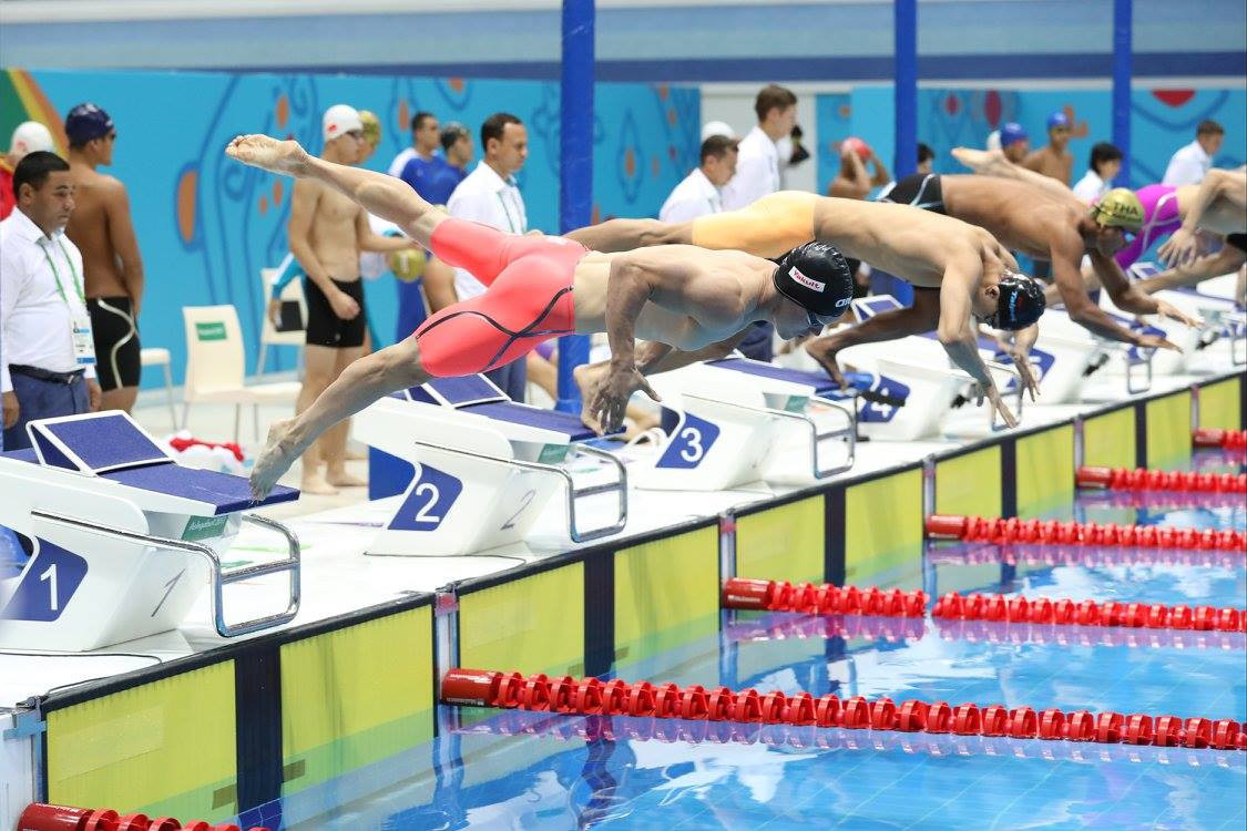 Chinese Taipei won the men's 4x100 metres freestyle relay in short course swimming in a Games record time ©Ashgabat 2017/Facebook