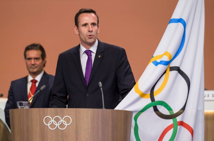 Jean-Christophe Rolland, President of the World Rowing Federation, speaks at this month's IOC Congress in Lima ©Getty Images
