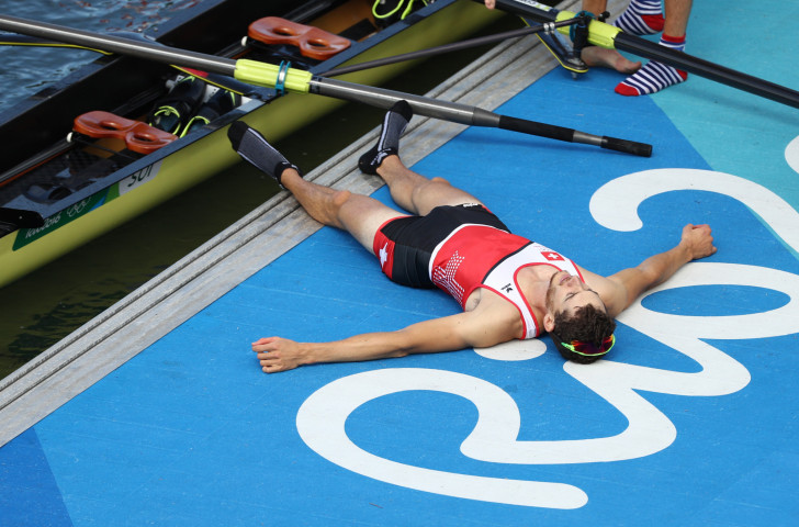 Switzerland's Lucas Tramer celebrates victory in the lightweight men's coxless four at the Rio Games - but now it is his event that looks likely to be floored following its removal from the Olympic programme for Tokyo 2020 ©Getty Images