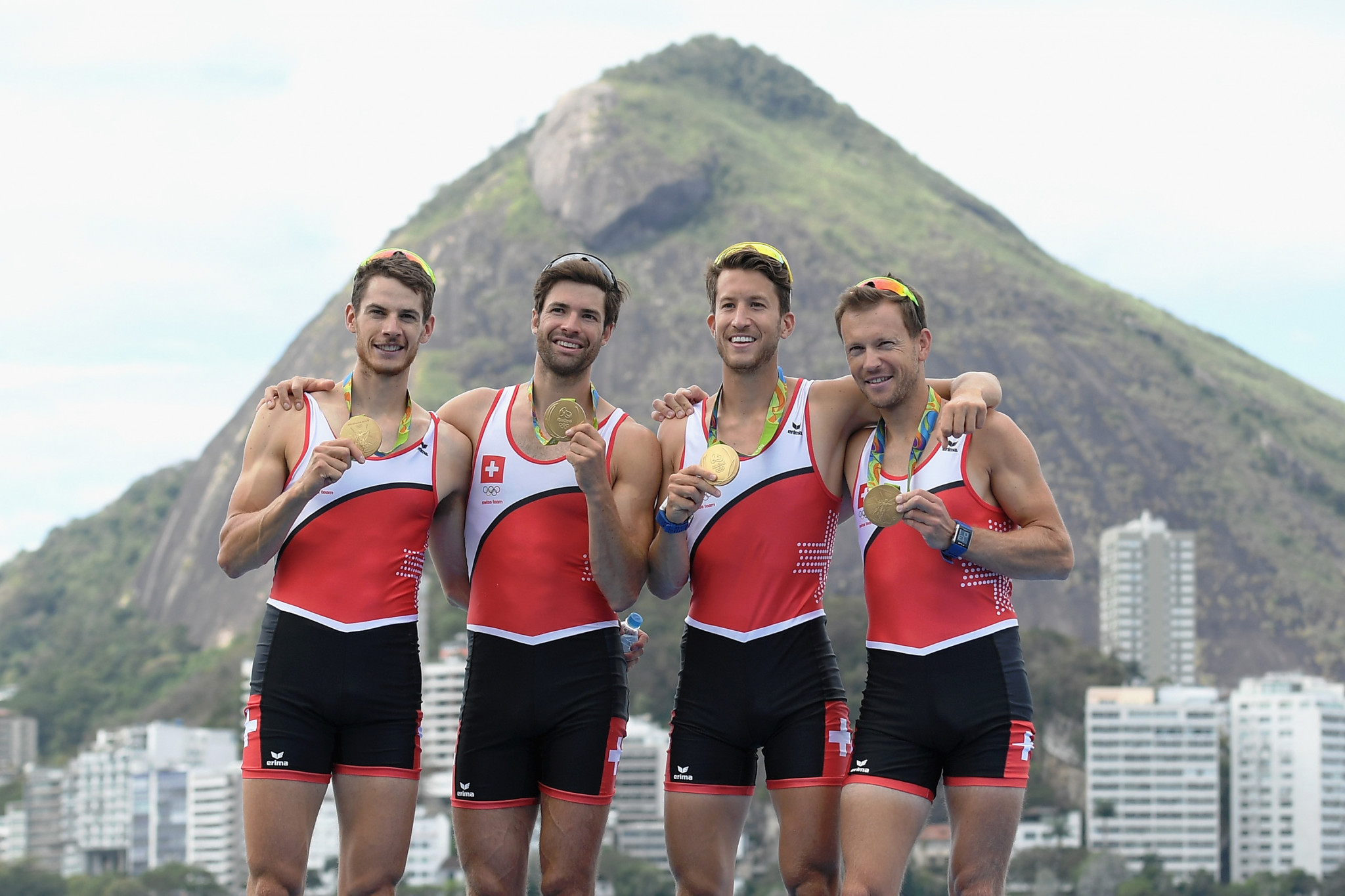 Switzerland celebrate Rio 2016 gold in the men's lightweight four - no longer an Olympic class ©Getty Images
