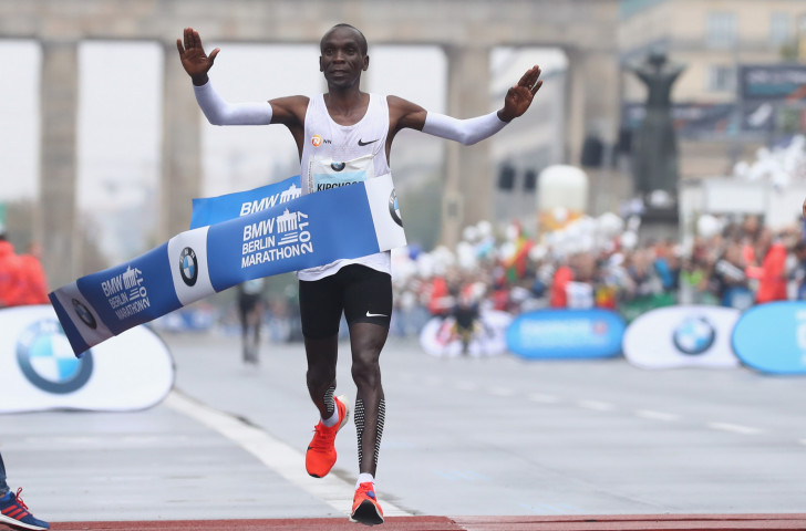 Eliud Kipchoge finished well clear of Ethiopian debutant Guye Adola in the Berlin Marathon on a day when his expected rivals, Kenenisa Bekele and Wilson Kipsang, failed to finish ©Getty Images