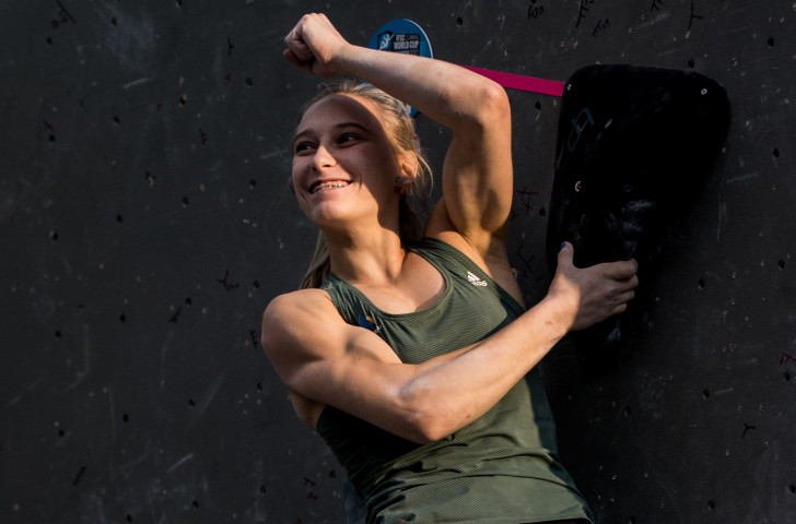 Slovenia's 18-year-old Janja Garnbret has restored her momentum at the head of this year's IFSC Lead World Cup standings with victory in Endiburgh ©Getty Images