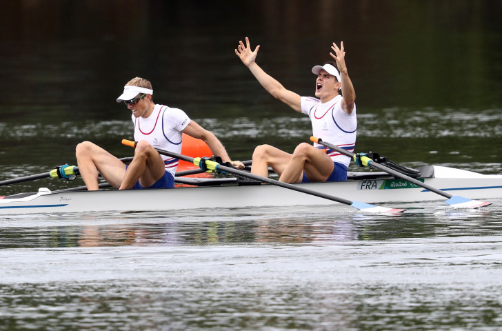 France's Jeremie Azou, left, and Pierre Houin, pictured winning Rio gold in the lightweight double sculls, got off to a winning start in the World Rowing Championships today ©Getty Images