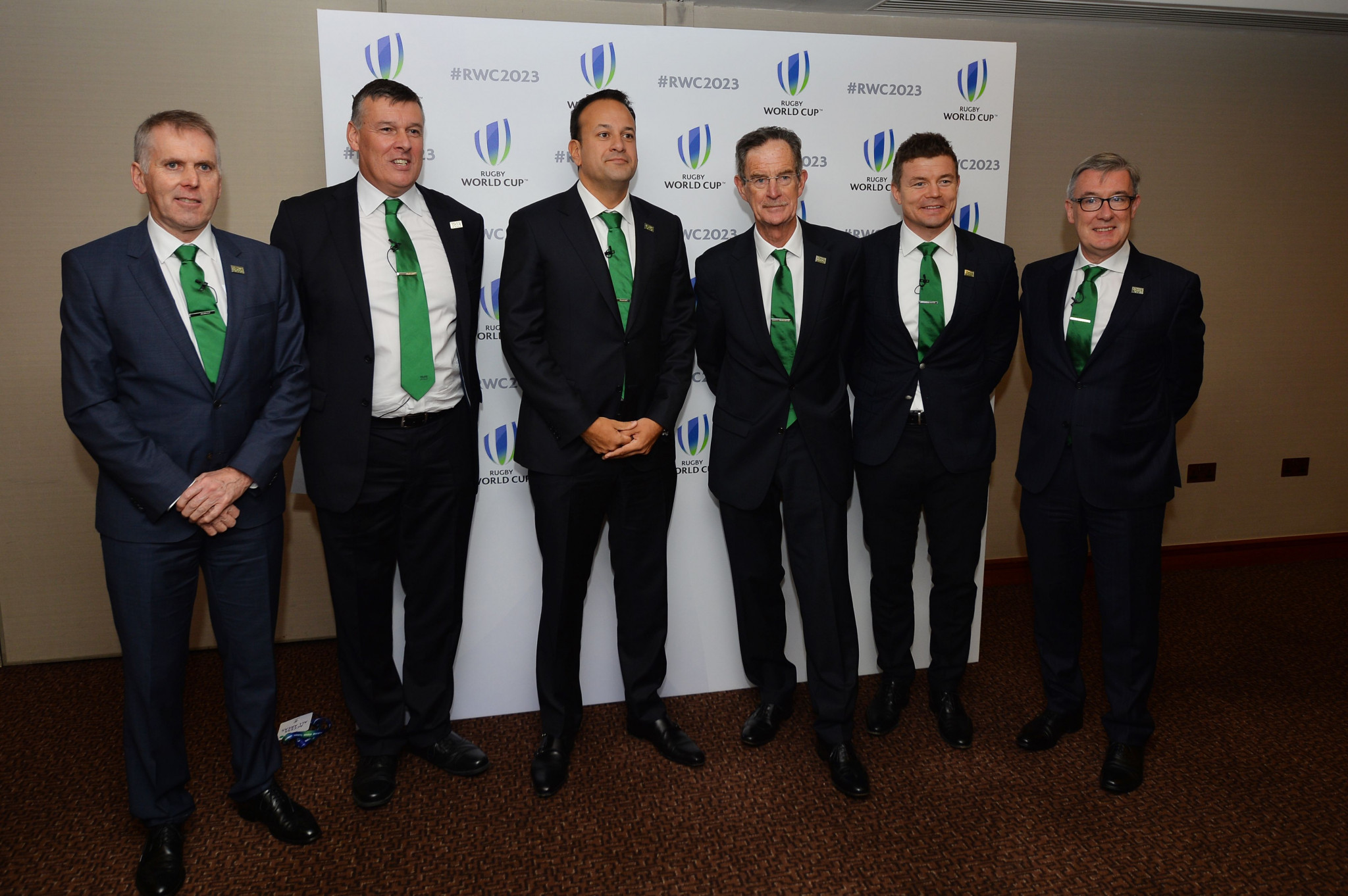 A high-powered delegation from Ireland, including the country's Prime Minister Leo Varadkar, third left, made a strong case to host the 2023 Rugby World Cup ©Getty Images