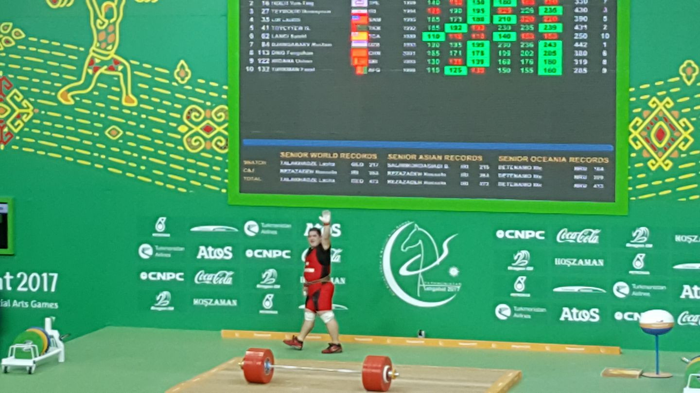 Uzbekistan's Rustam Djangabaev claimed the men's over 105 kilograms gold medal to round out the weightlifting competition at the 2017 Asian Indoor and Martial Arts Games ©ITG