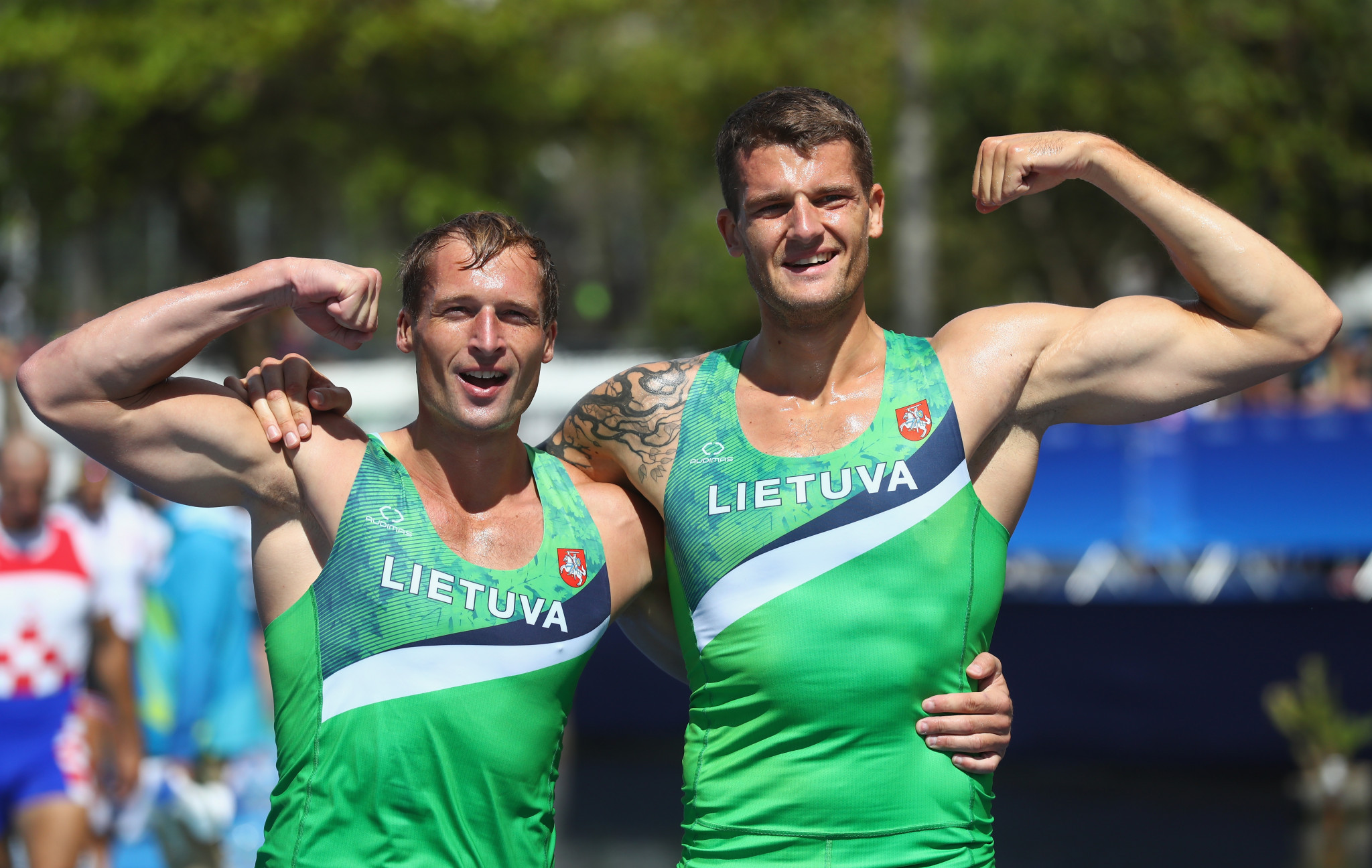 Olympic silver medallists Saulius Ritter and Mindaugas Griskonis made it through their heat in the men's double sculls ©Getty Images