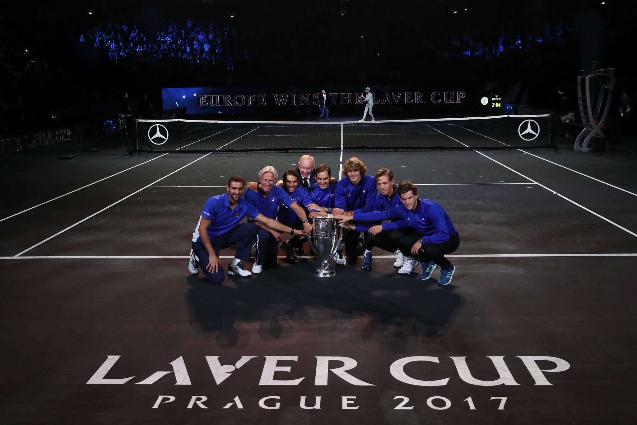 Team Europe celebrate beating Team World in the inaugural Laver Cup in Prague ©Getty Images