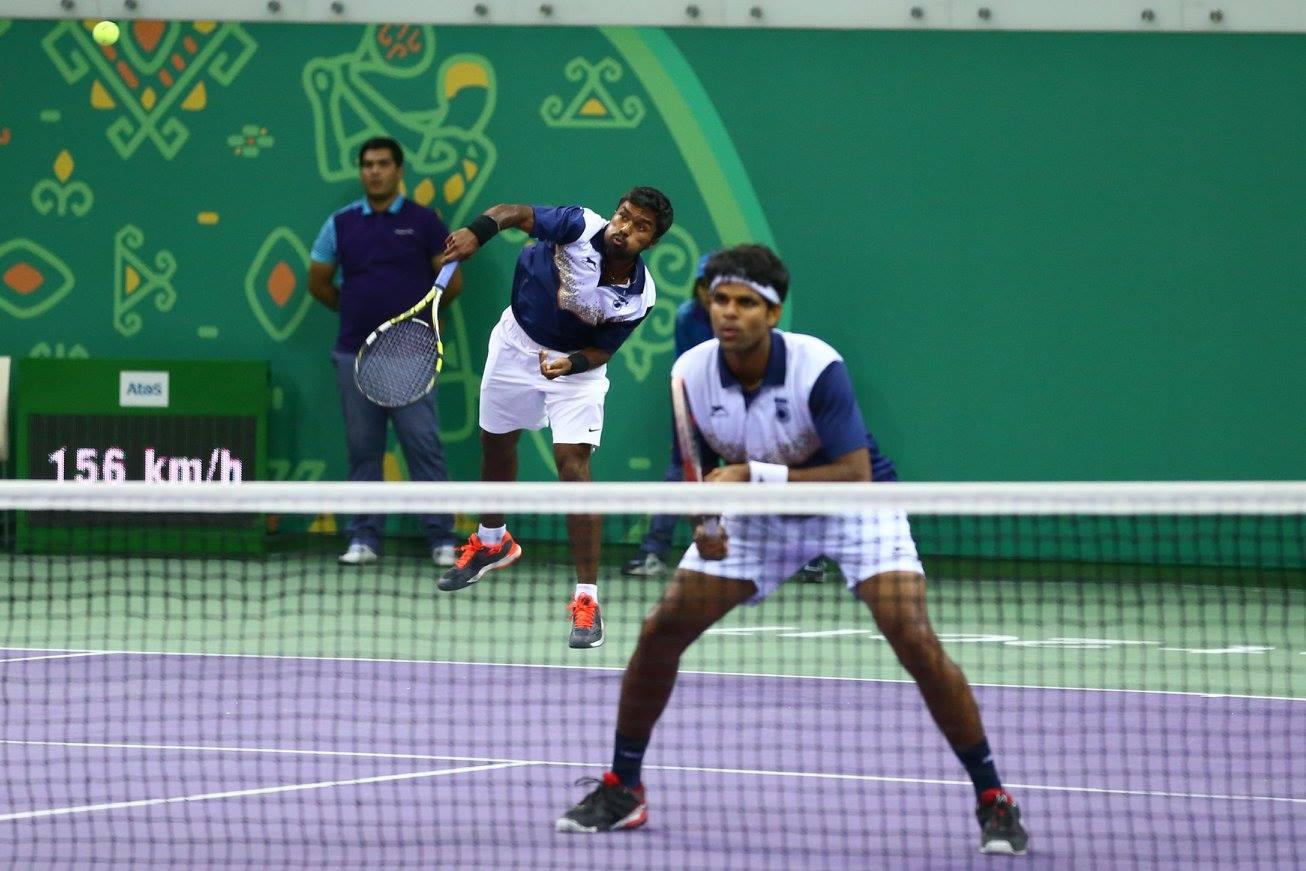 India's Vijay Natarajan and Jagadeesan Vishnuvardhan triumphed in the men's doubles indoor tennis event ©Ashgabat 2017/Facebook