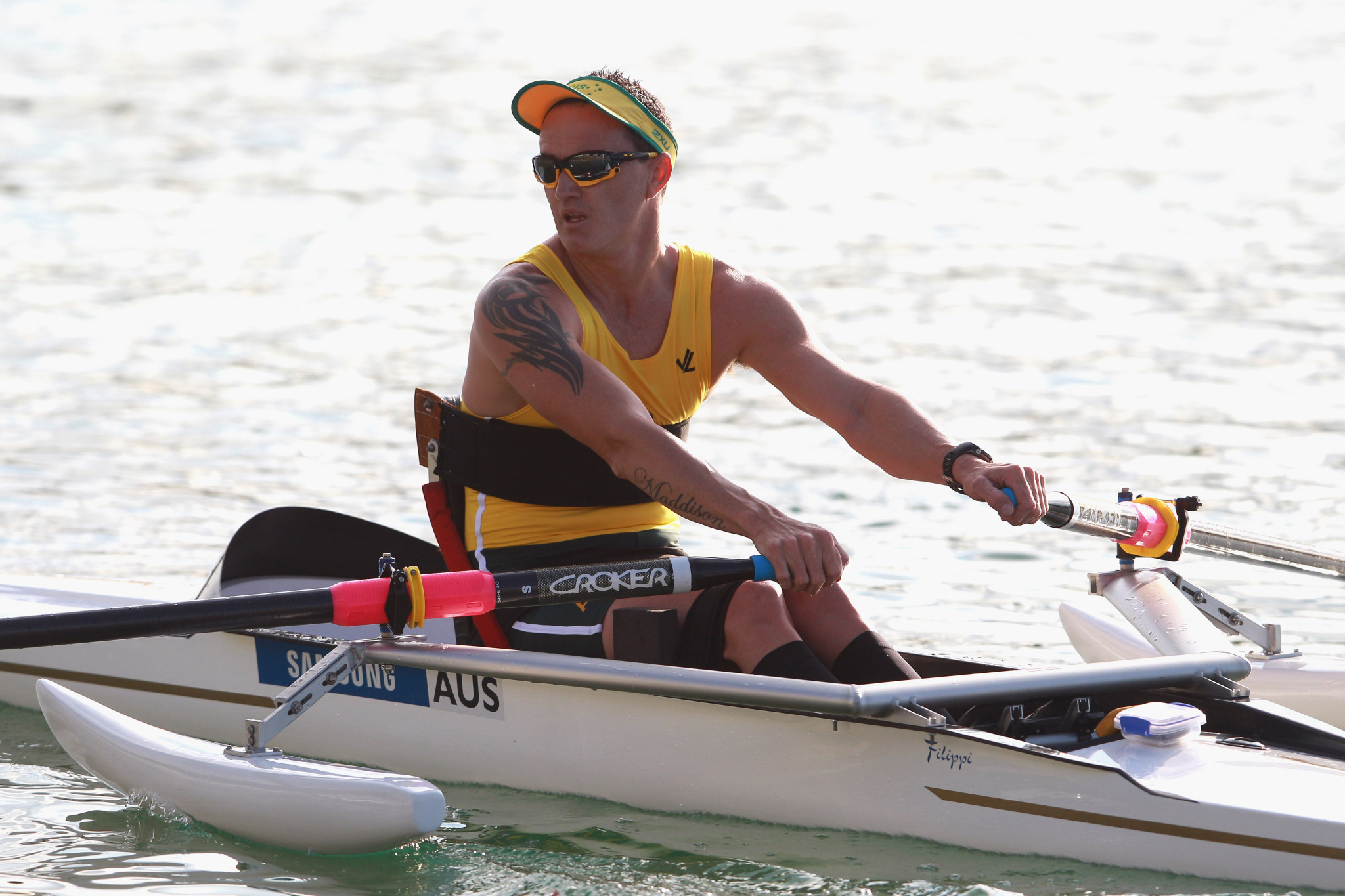 Australia's Erik Horrie made a strong start in his bid for a fourth para-rowing world title on the first day's racing over a 2000m course in Florida ©Getty Images