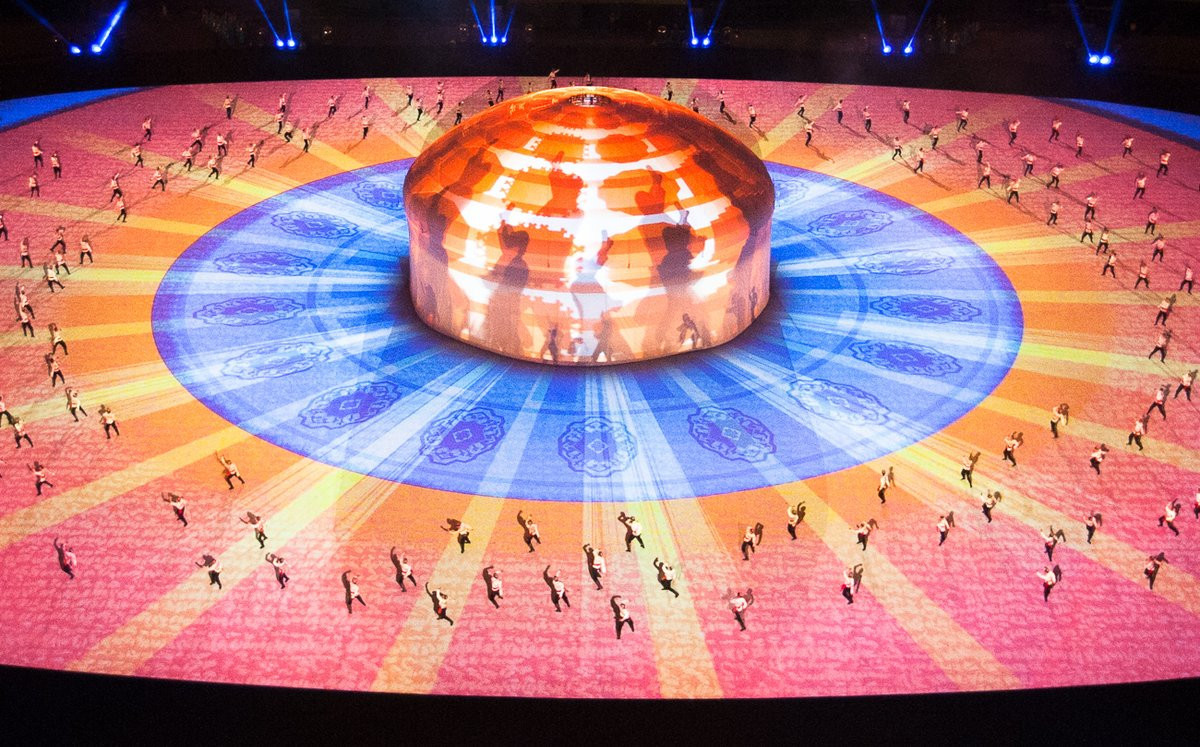 The vibrant energy of the traditional kushdepdi dance spread across the Ashgabat Olympic Stadium during the