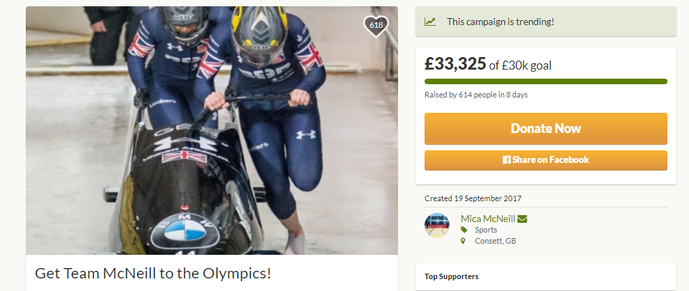A crowdfunding campaign to help Britain's women's bobsleigh team get to Pyeongchang 2018 after their funding was cut has reached its £30,000 target ©gofundme
