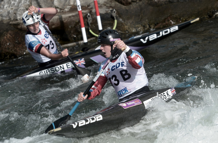 Britain's Eilidh Gibson, left, and Kimberley Woods earn gold in the women's C1 team event at the ICF World Championships in Pau. The C1 is an established Olympic event - but it could be joined by new disciplines at the Paris 2024 Games ©Getty Images