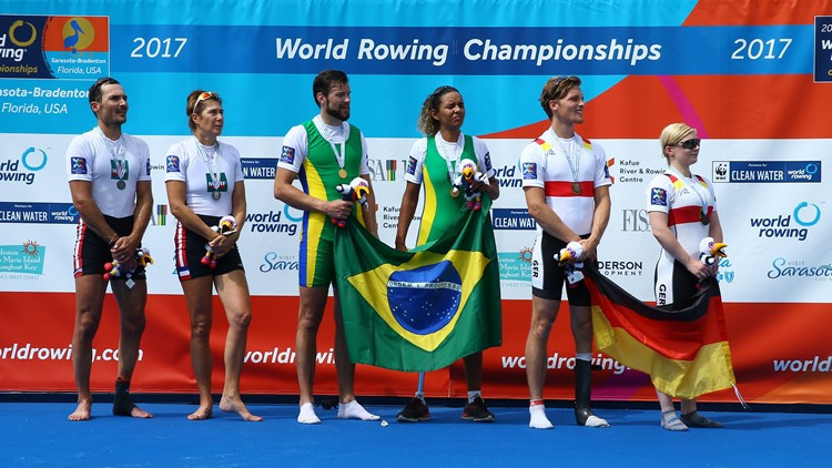 Brazil's Barcelos De Oliveira and Jairo Klug broke the world best time by 20 seconds in winning the Para PR3 mixed double title at the World Rowing Championships ©World Rowing