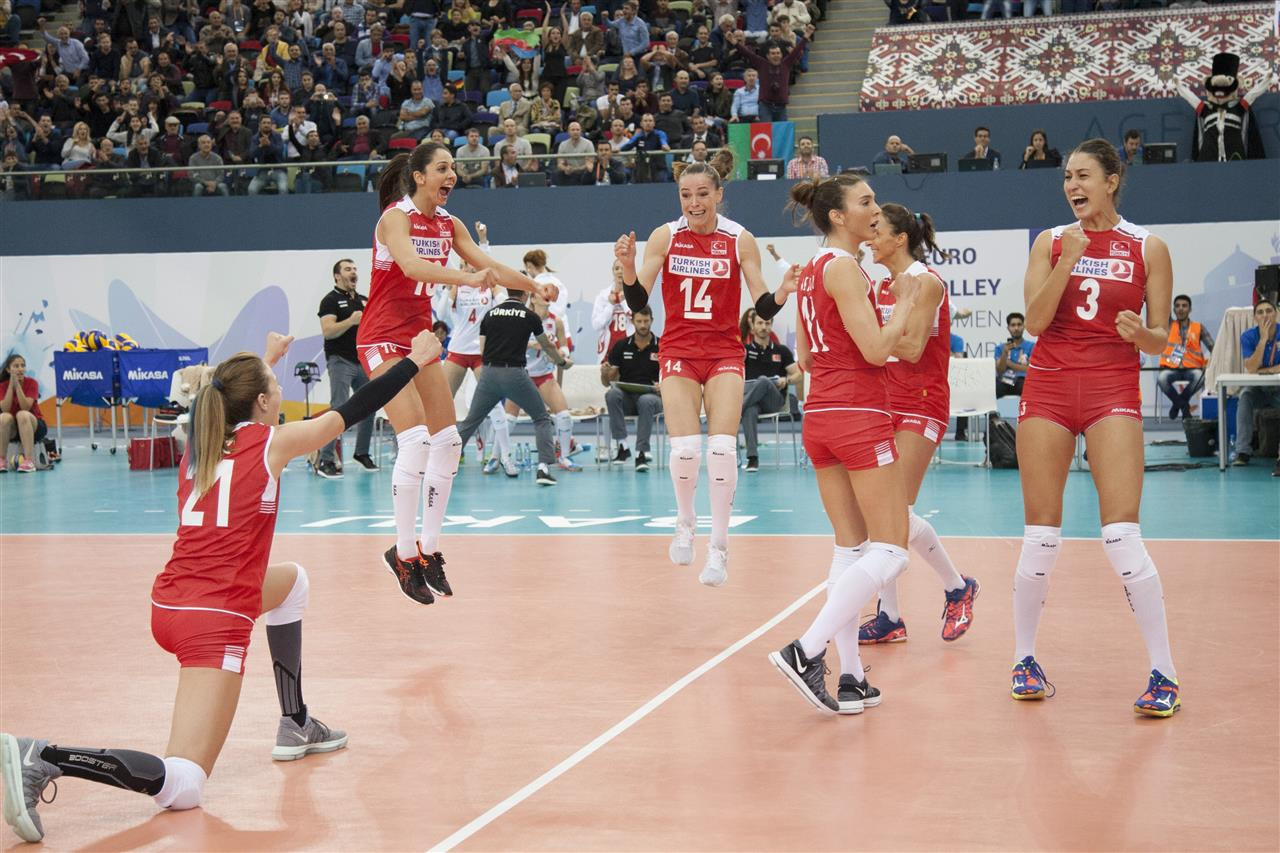 Turkey thrashed defending champions Russia in straight sets to progress ©CEV