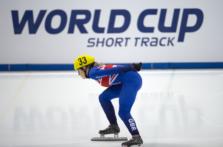 Britain's overall short track speed skating world champion Elise Christie has made a steady start at the Budapest World Cup, winning her 1500 and 1000m heats ©Getty Images