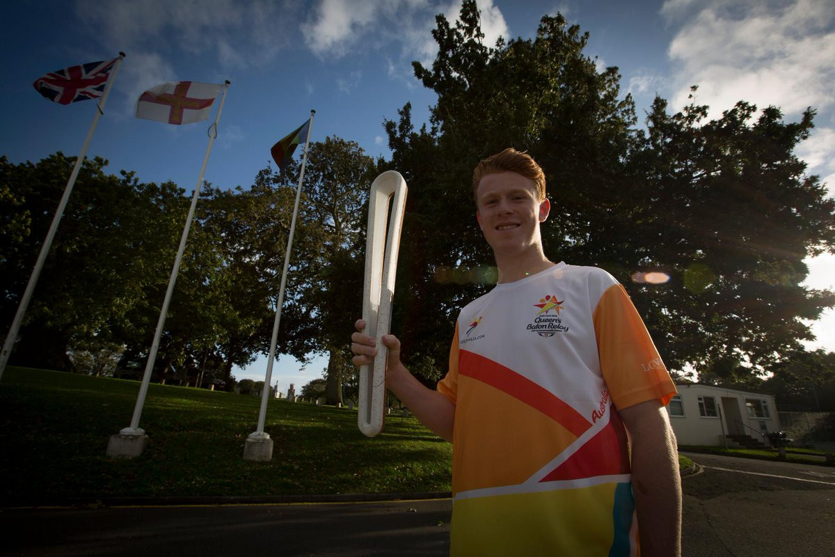Cameron Chalmers, who carried the Queen's Baton Relay during its recent visit to Guernsey, is among the Island's early selections for Gold Coast 2018 ©Twitter