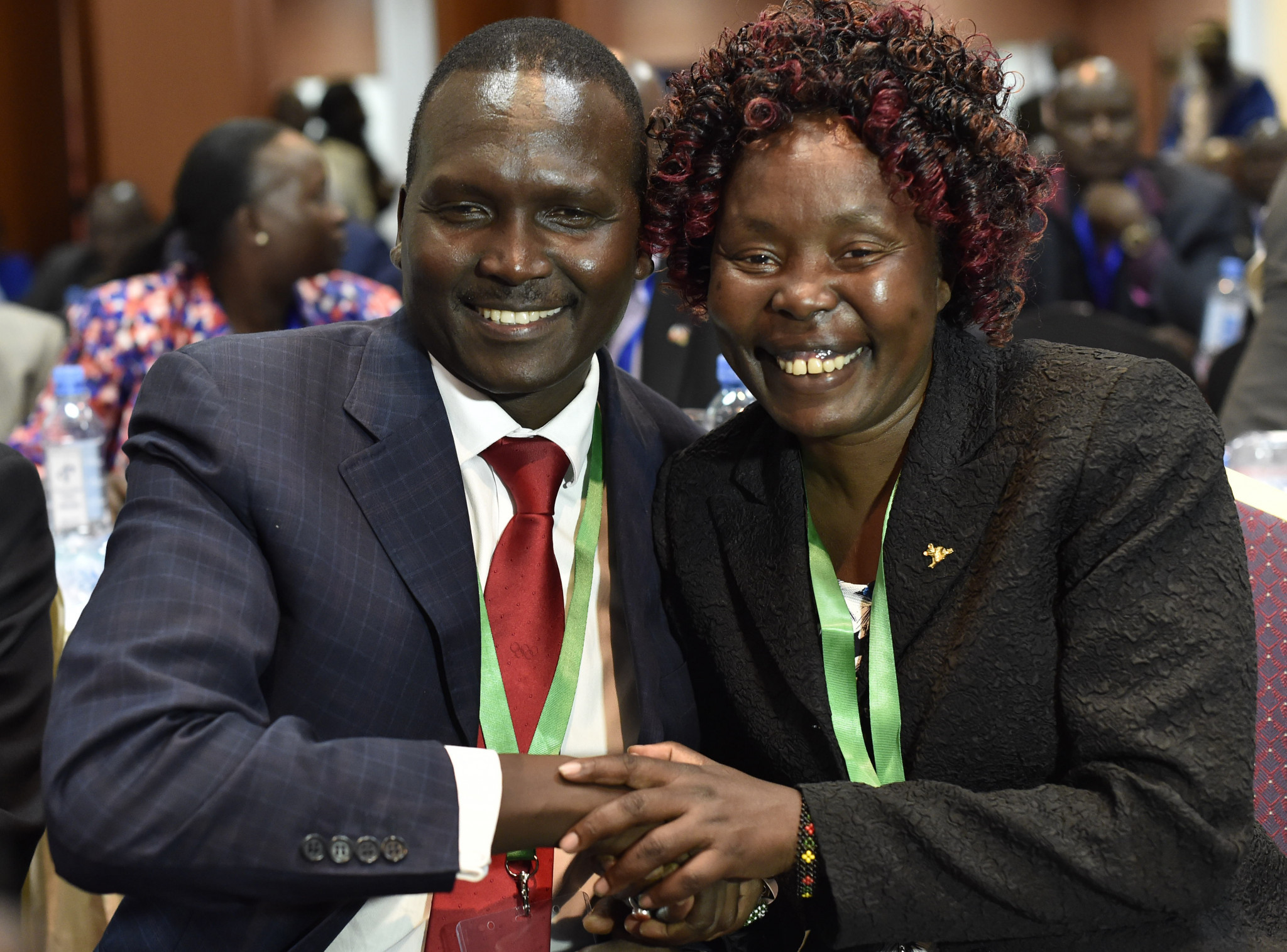 Paul Tergat celebrates his election as chairman of the National Olympic Committee of Kenya with Tegla Loroupe, whose own bid to be elected the woman representative was unsuccessful ©Getty Images