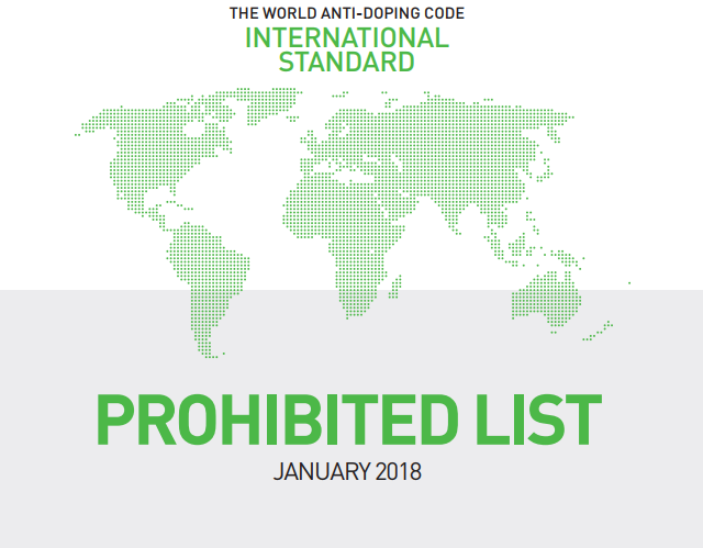 Updated WADA Prohibited List for 2018 comes into effect