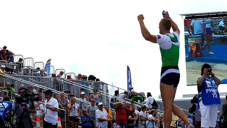 Lithuania's men's quad lived up to the favourite billing at the World Rowing Championships, heading home a British crew that had required a last-minute medical substitution  ©World Rowing