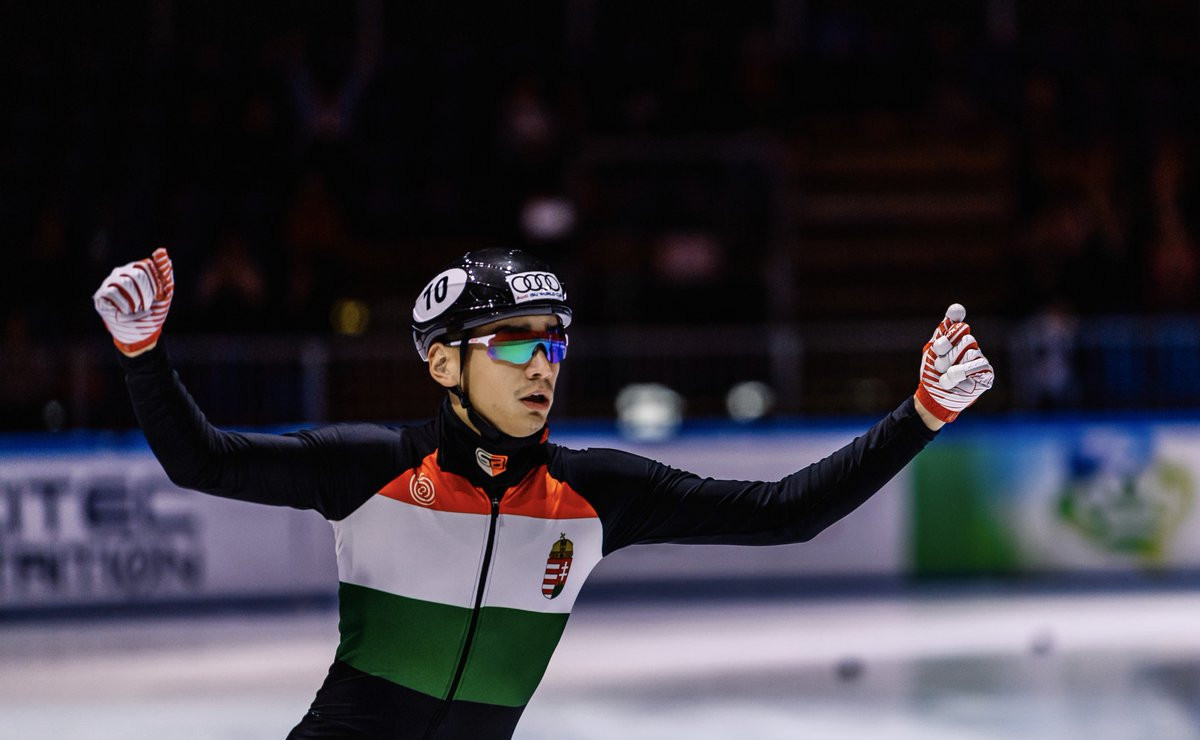 Hungary's Shaolin Sandor Liu proved a popular home winner of the 500m in the ISU World Cup Short Track event in Budapest ©ISU Twitter