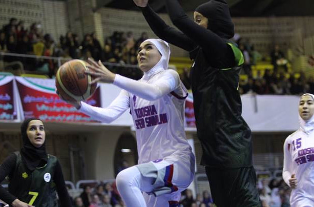 Action from the FIBA test event in Tehran on April 13 which heralded a shift in the rules on female Muslim players being able to wear the hijab, a ruling that comes in today ©FIBA