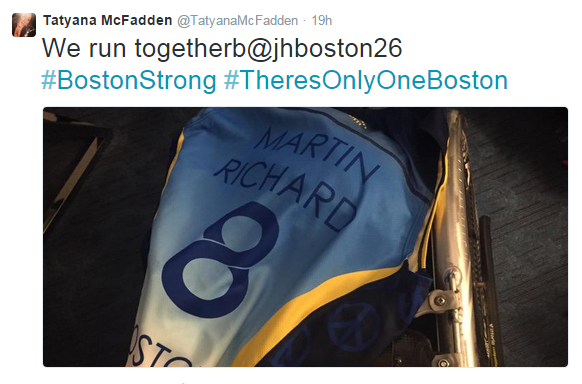 Tatyana McFadden wore a vest dedicated to the memory of Martin Richard, the eight-year-old boy killed in the finish line bombing at the 2013 Boston Marathon