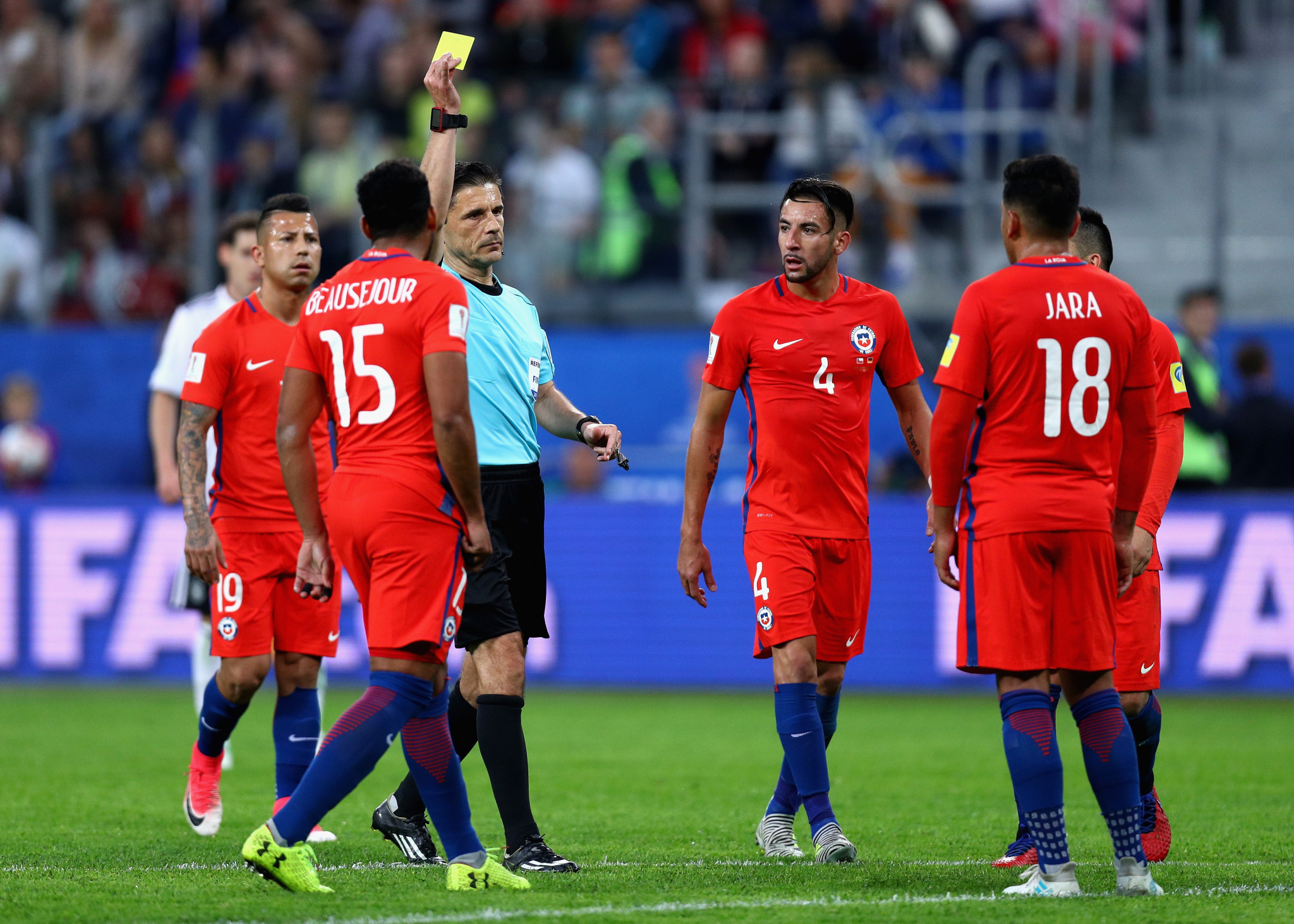 Many thought the VAR got it wrong when failing to give Gonzala Jara a red card during the Confederations Cup final against Germany ©Getty Images