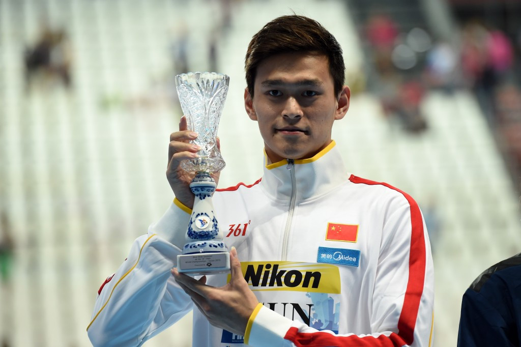 The controversial Sun Yang earned the men's swimming award but surprisingly failed to appear for his 1500m freestyle final ©Getty Images