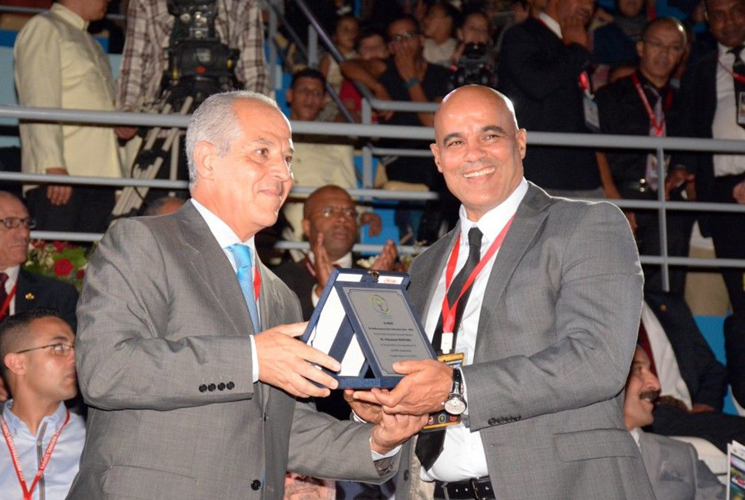Bechir Cherif, left, the third vice-president of the WKF, will serve a six-year term as MKFU President ©WKF