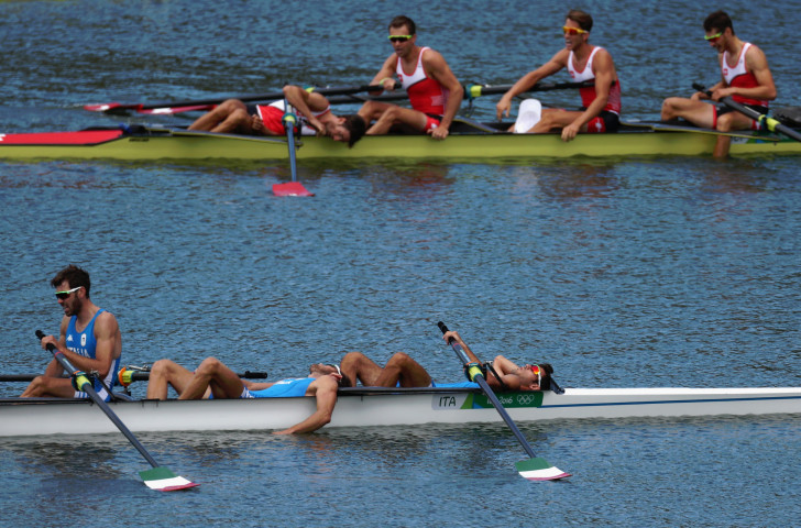 Italy, who finished out of the medals behind champions Switzerland (background), get that sinking feeling after the men's lightweight four final at the Rio Games. Now the boat class has sunk beneath the water at the Olympics and World Championships ©Getty Images