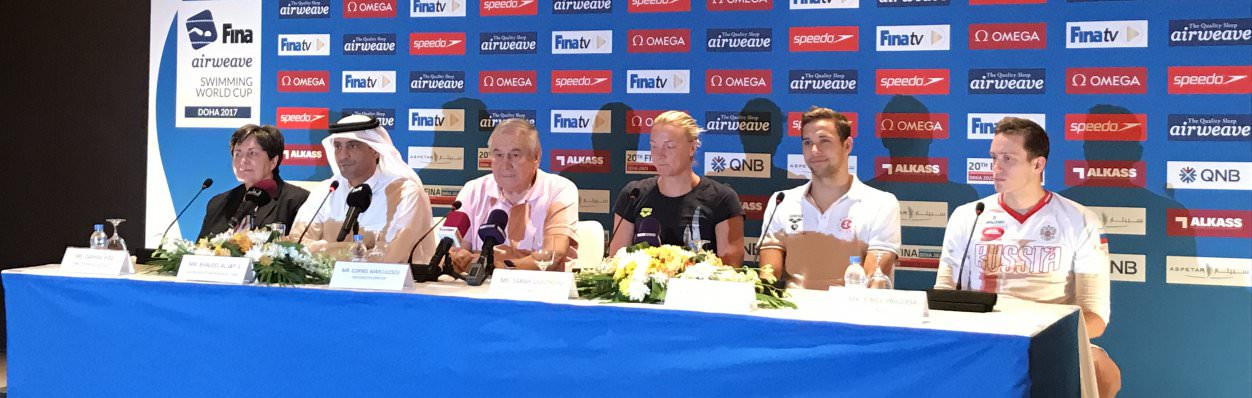Sarah Sjöström, Chad Le Clos and FINA executive director Cornel Marculescu were speaking at a pre-event press conference in Doha ©FINA