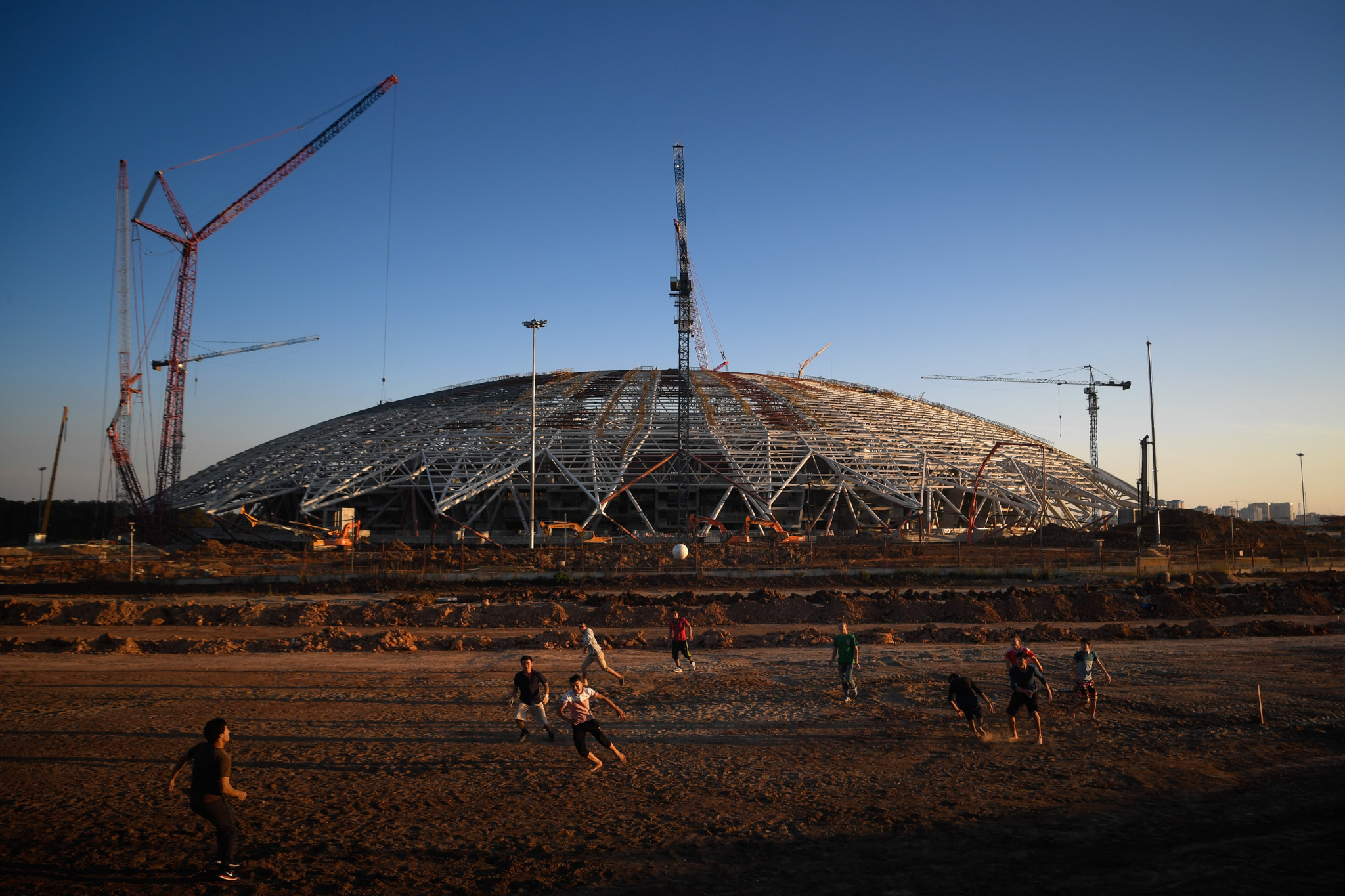 The 45,000-seat Samara Arena remains behind schedule ©Getty Images