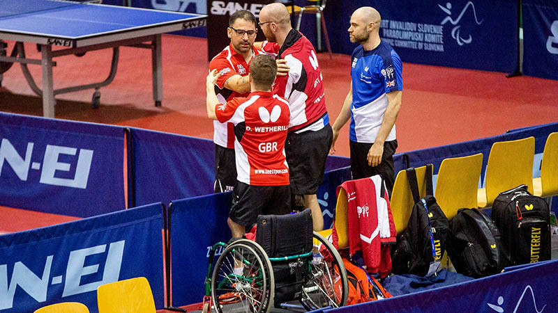 Britain's Paul Karabardak, David Wetherill and Martin Perry took the gold medal in the men's class six team event ©Table Tennis England