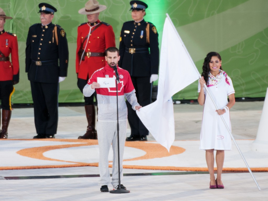 Nine-time Paralympic gold medallist Benoit Huot read the athletes' oath ©Canadian Paralympic Committee