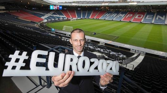 UEFA President visits Glasgow's Hampden Park to assess Euro 2020 stadium changes