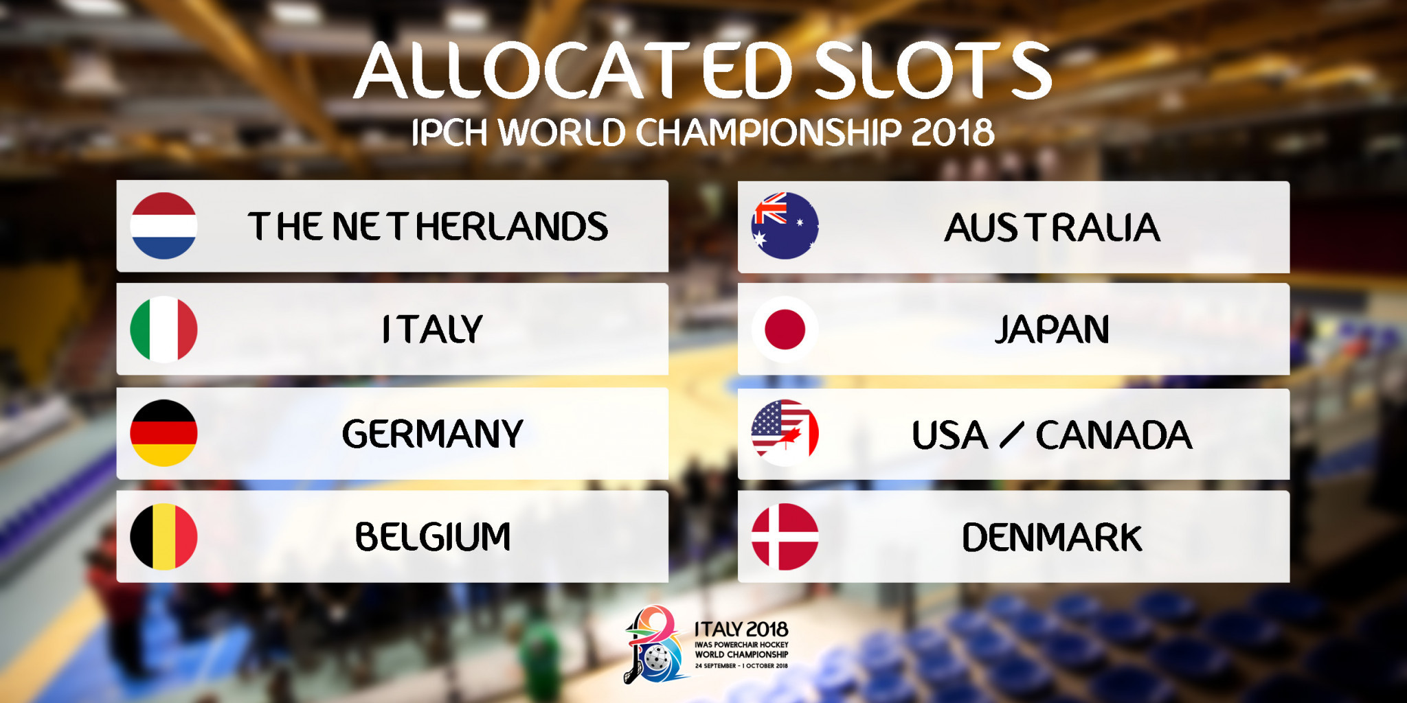 Places for the 2018 IWAS World Powerchair Hockey Championships have been allocated based on regional competition results and the world rankings ©IWAS Powerchair Hockey