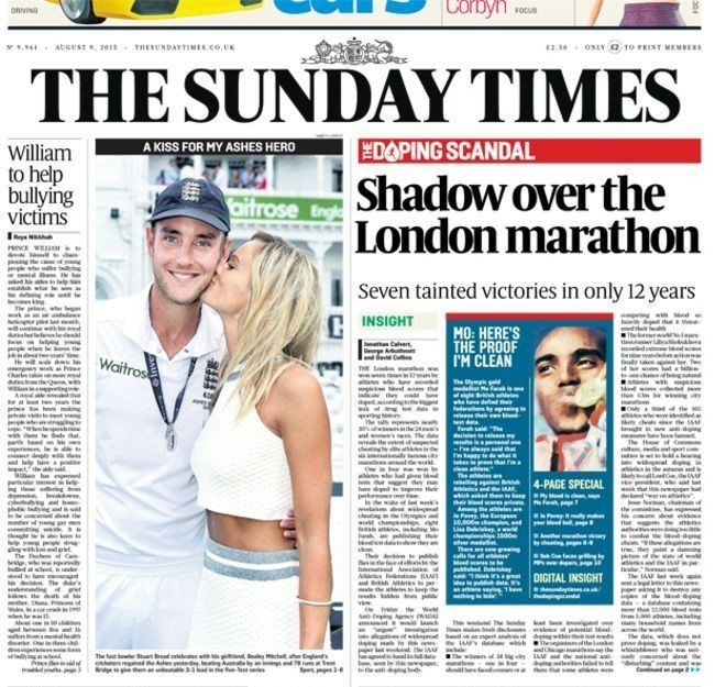 The latest allegations in the Sunday Times and on ARD have opened necessary debate into lingering doping problems in athletics ©Sunday Times